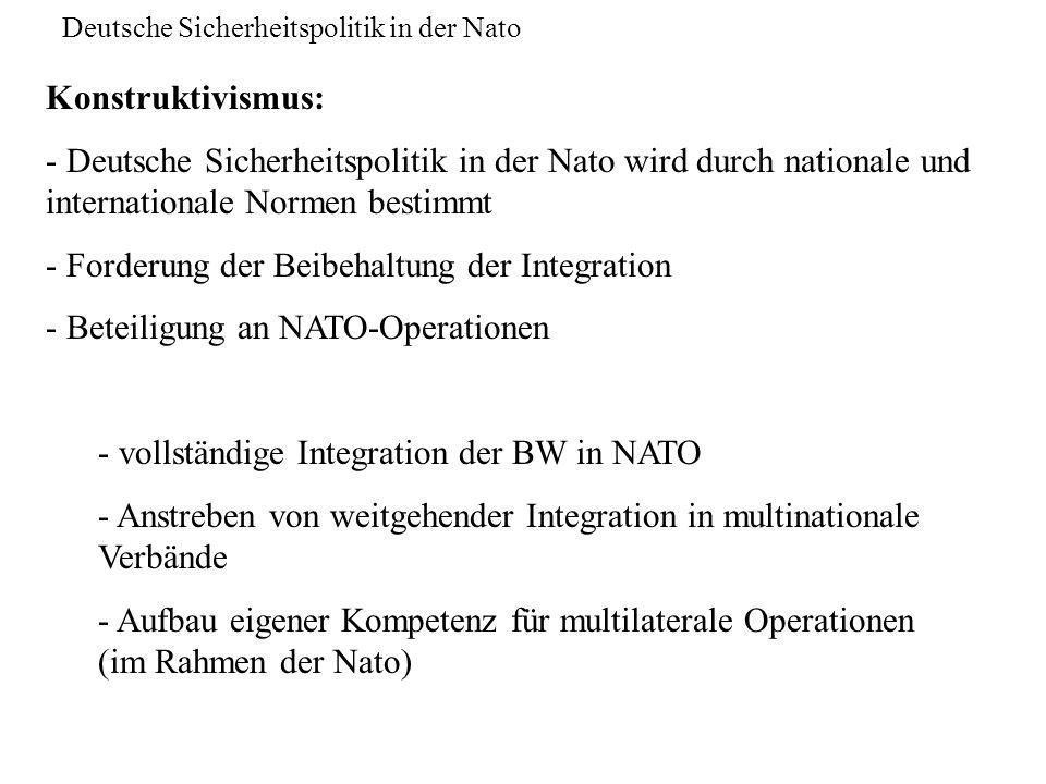 Deutsche Sicherheitspolitik in der Nato Konstruktivismus: - Deutsche Sicherheitspolitik in der Nato wird durch nationale und internationale Normen bes