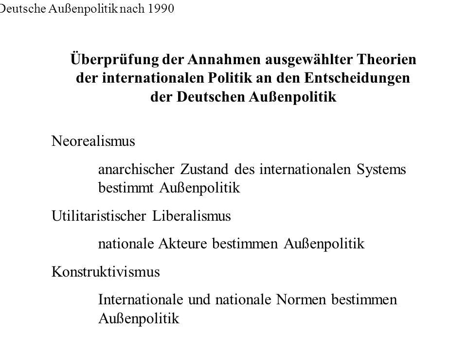 Deutsche Außenpolitik nach 1990 Überprüfung der Annahmen ausgewählter Theorien der internationalen Politik an den Entscheidungen der Deutschen Außenpo