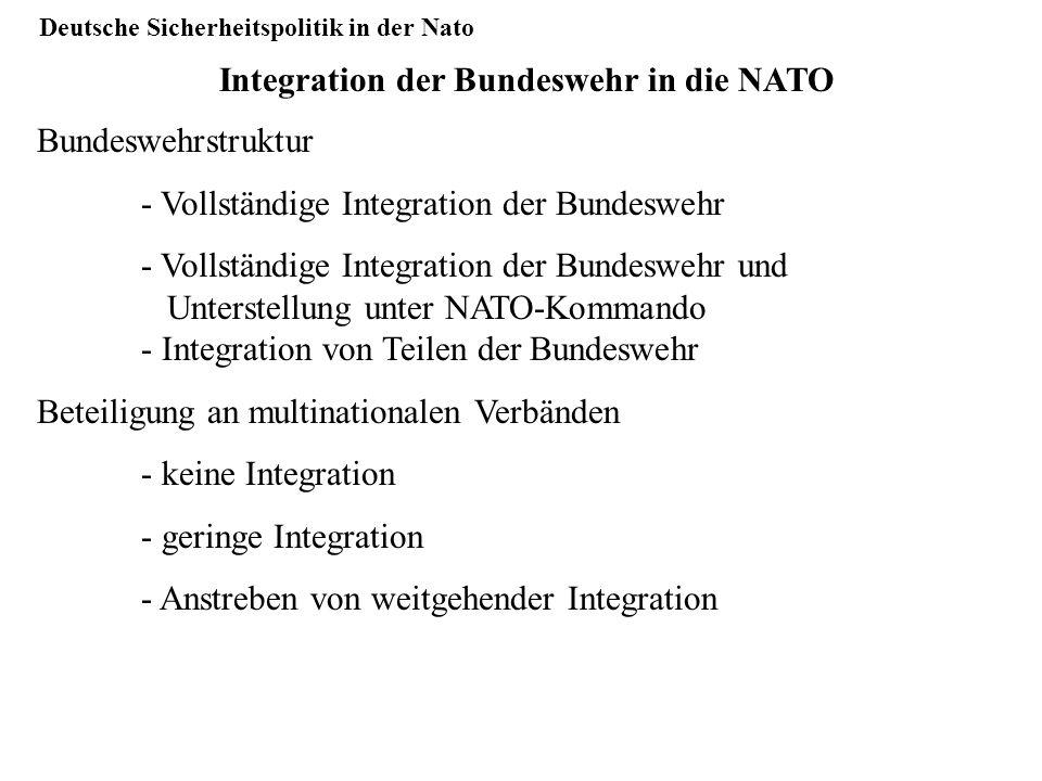 Deutsche Sicherheitspolitik in der Nato Integration der Bundeswehr in die NATO Bundeswehrstruktur - Vollständige Integration der Bundeswehr - Vollstän