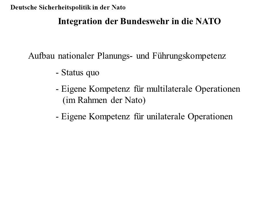 Deutsche Sicherheitspolitik in der Nato Integration der Bundeswehr in die NATO Aufbau nationaler Planungs- und Führungskompetenz - Status quo - Eigene