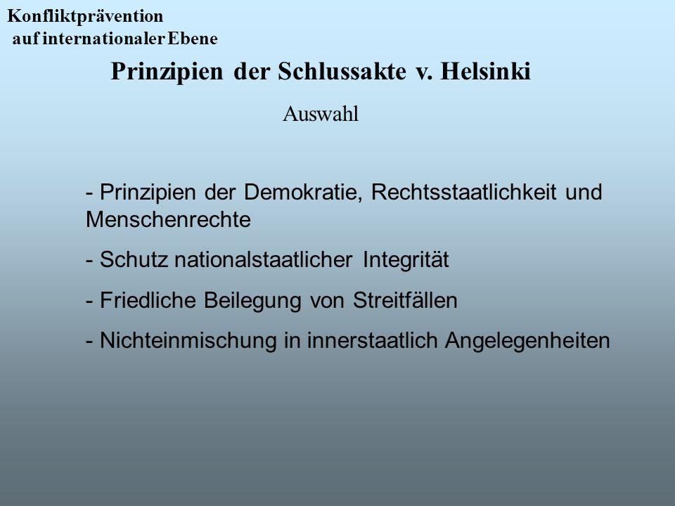 Konfliktprävention auf internationaler Ebene - Prinzipien der Demokratie, Rechtsstaatlichkeit und Menschenrechte - Schutz nationalstaatlicher Integrit