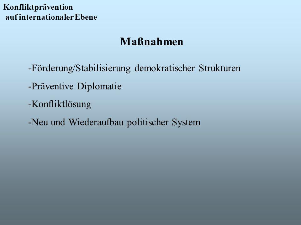 Konfliktprävention auf internationaler Ebene Maßnahmen -Förderung/Stabilisierung demokratischer Strukturen -Präventive Diplomatie -Konfliktlösung -Neu
