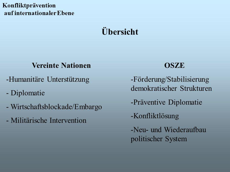 Konfliktprävention auf internationaler Ebene Übersicht Vereinte Nationen -Humanitäre Unterstützung - Diplomatie - Wirtschaftsblockade/Embargo - Militä