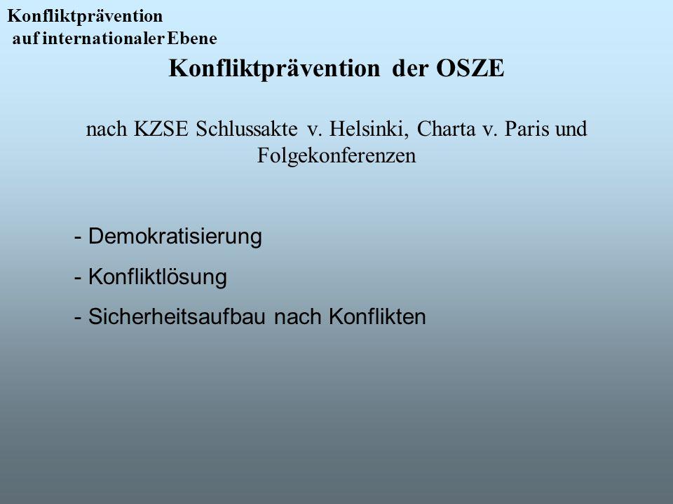 Konfliktprävention der OSZE nach KZSE Schlussakte v. Helsinki, Charta v. Paris und Folgekonferenzen Konfliktprävention auf internationaler Ebene - Dem