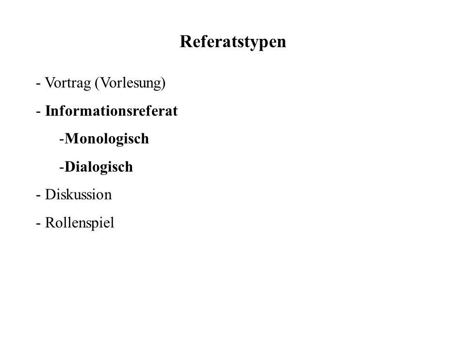 Referatstypen - Vortrag (Vorlesung) - Informationsreferat -Monologisch -Dialogisch - Diskussion - Rollenspiel