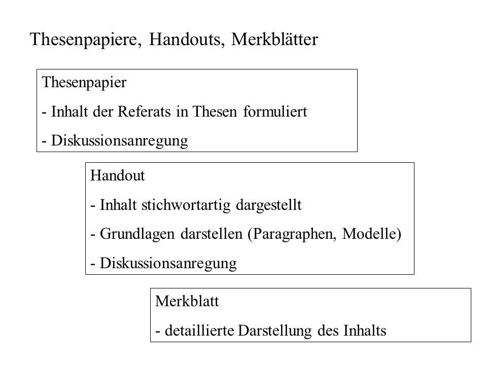 Thesenpapiere, Handouts, Merkblätter Thesenpapier - Inhalt der Referats in Thesen formuliert - Diskussionsanregung Handout - Inhalt stichwortartig dar