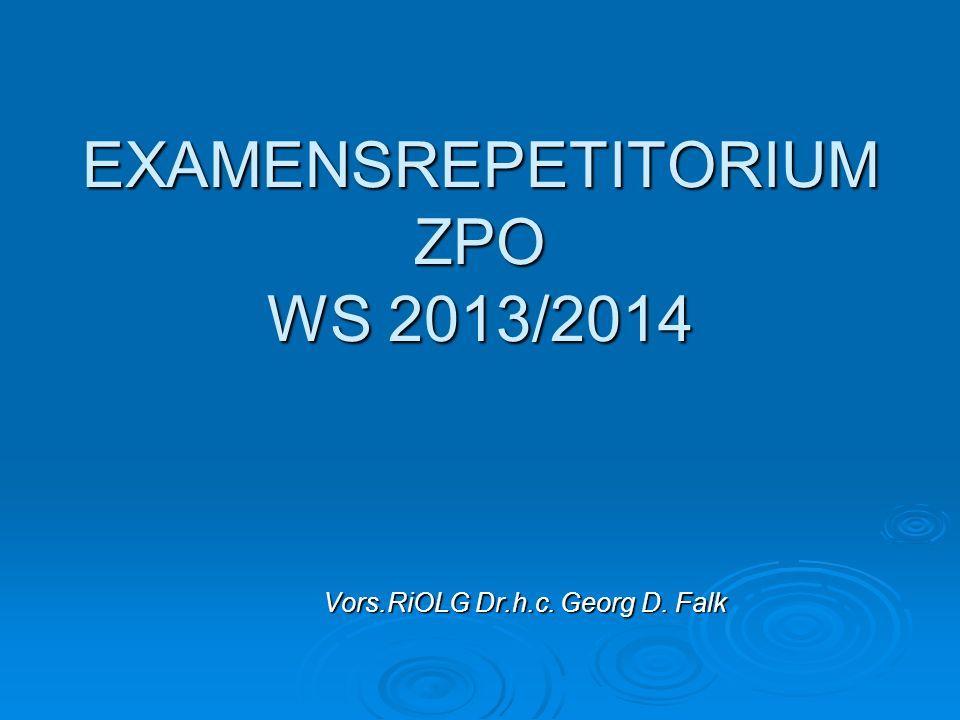 Dr.FalkEX-REP ZPO WS 12-1312 Zulässigkeit der Klage (1) Echte Prozessvorauss.