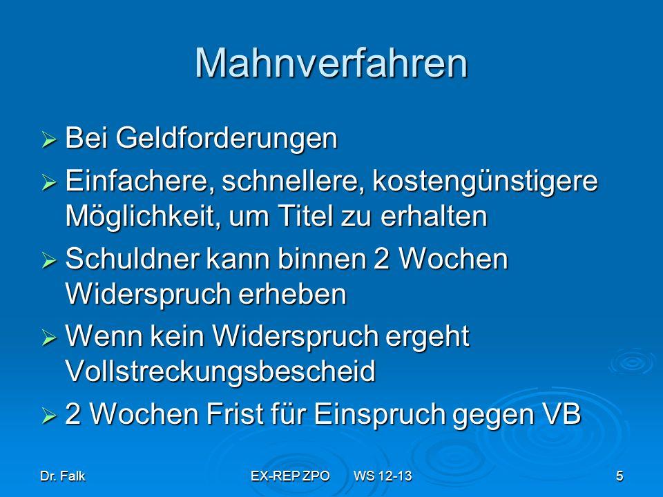 Dr.FalkEX-REP ZPO WS 12-1356 Vollstreckungsarten & Organe Wg titul.