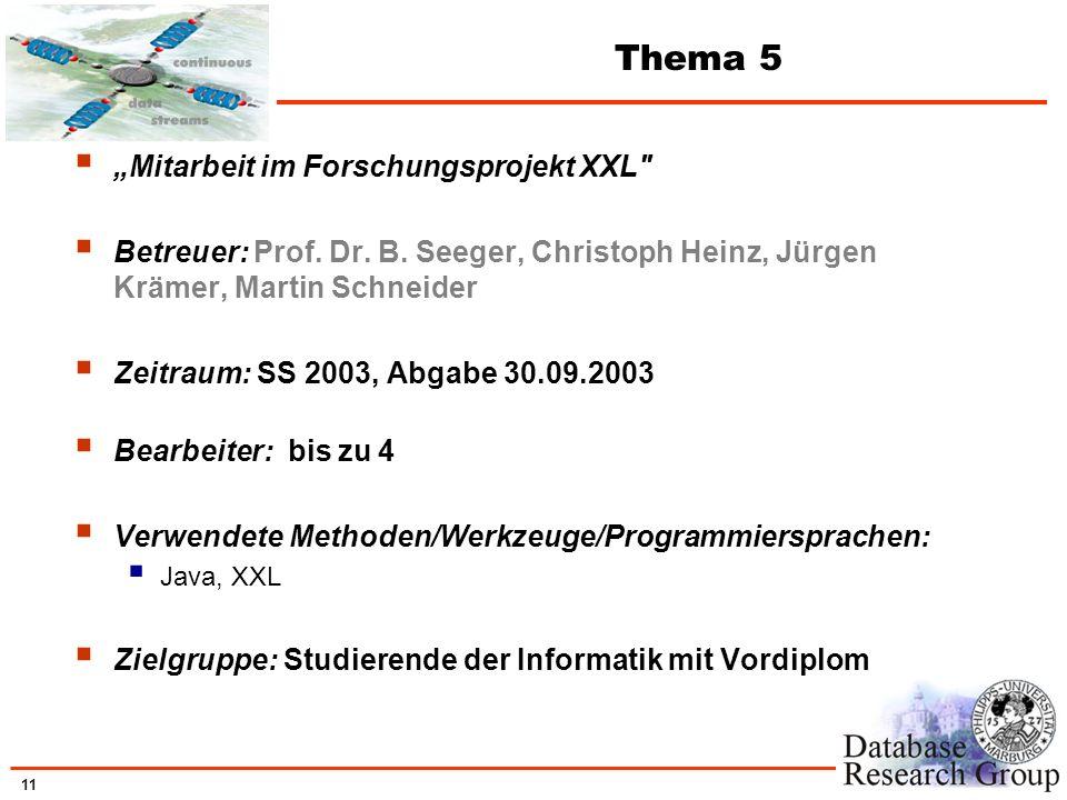 11 Thema 5 Mitarbeit im Forschungsprojekt XXL