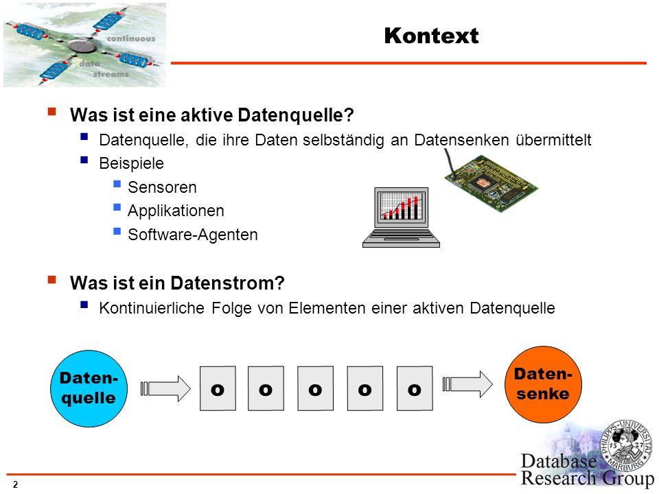 2 Kontext Was ist eine aktive Datenquelle? Datenquelle, die ihre Daten selbständig an Datensenken übermittelt Beispiele Sensoren Applikationen Softwar