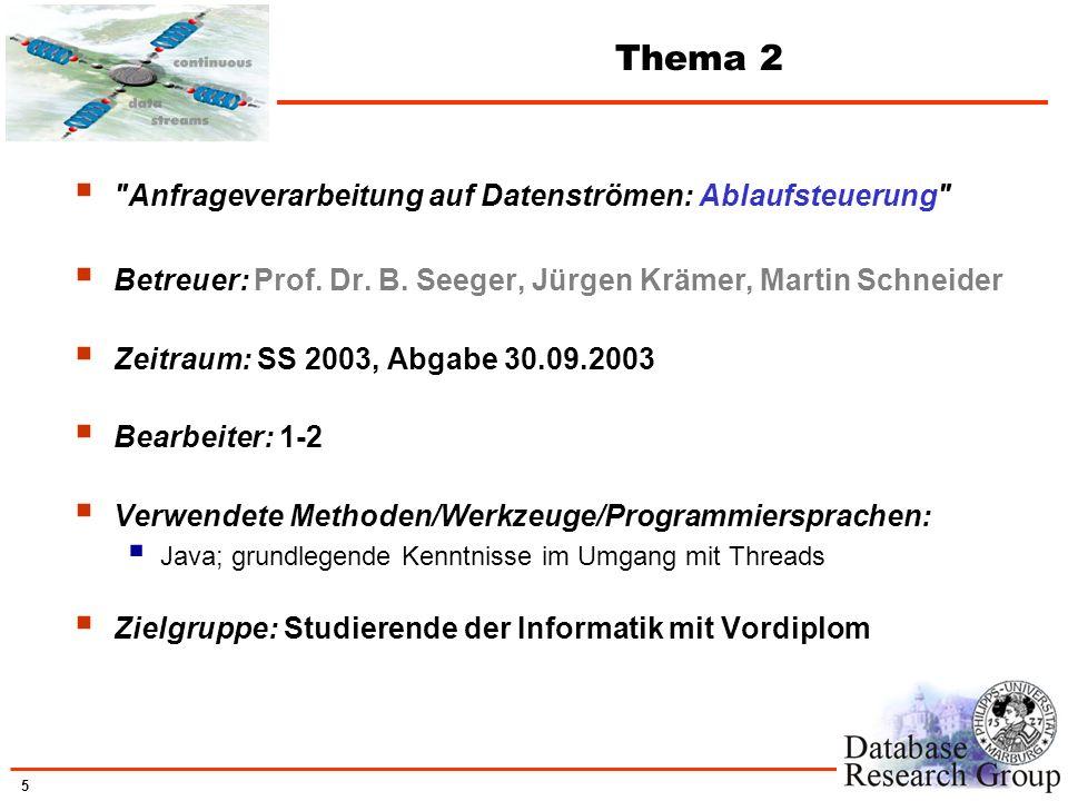 6 Thema 2 Gezielte Einflussnahme auf Verarbeitungsreihenfolge leichtgewichtiger Prozesse (Threads) Entwicklung eines prioritätsbasierten Round-Robin-Schedulers