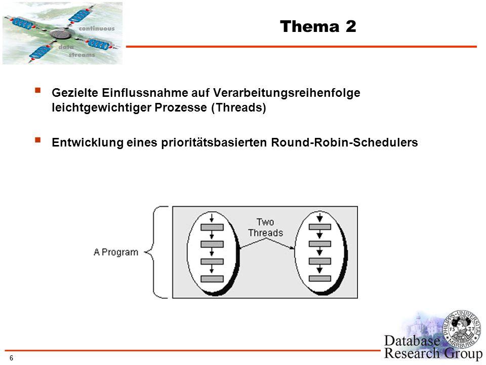 6 Thema 2 Gezielte Einflussnahme auf Verarbeitungsreihenfolge leichtgewichtiger Prozesse (Threads) Entwicklung eines prioritätsbasierten Round-Robin-S