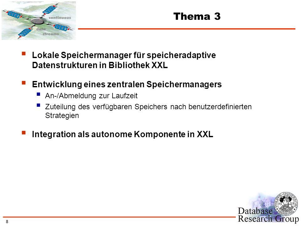 8 Thema 3 Lokale Speichermanager für speicheradaptive Datenstrukturen in Bibliothek XXL Entwicklung eines zentralen Speichermanagers An-/Abmeldung zur
