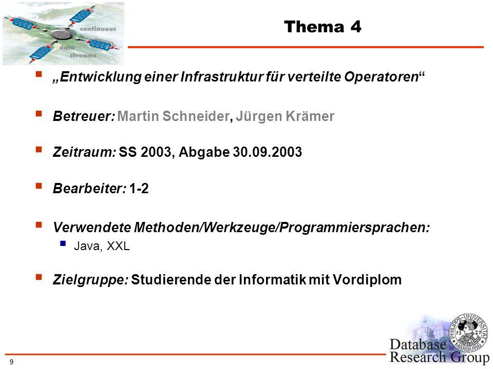 9 Thema 4 Entwicklung einer Infrastruktur für verteilte Operatoren Betreuer: Martin Schneider, Jürgen Krämer Zeitraum: SS 2003, Abgabe 30.09.2003 Bear