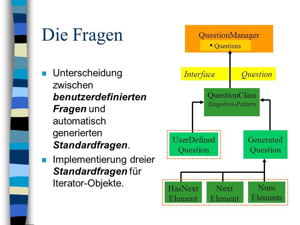 Die Fragen n Unterscheidung zwischen benutzerdefinierten Fragen und automatisch generierten Standardfragen. n Implementierung dreier Standardfragen fü