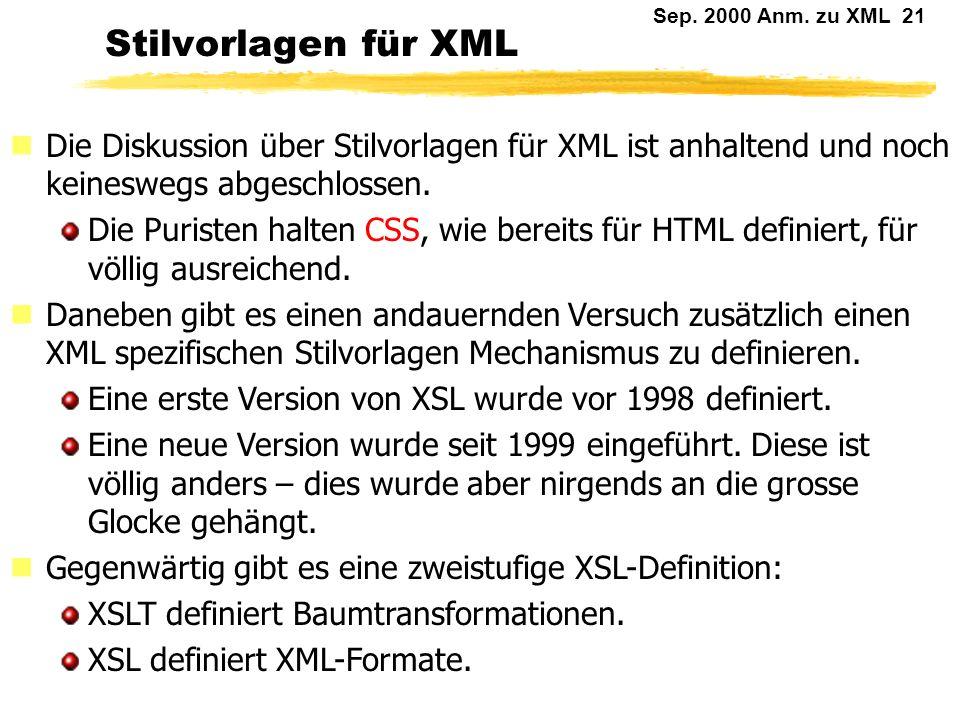 Sep. 2000 Anm. zu XML 20 Vorteile unabhängiger Stilvorlagen Wiederverwendbarkeit Mehrere Varianten für unterschiedliche Ausgabemedien. Standardisierte