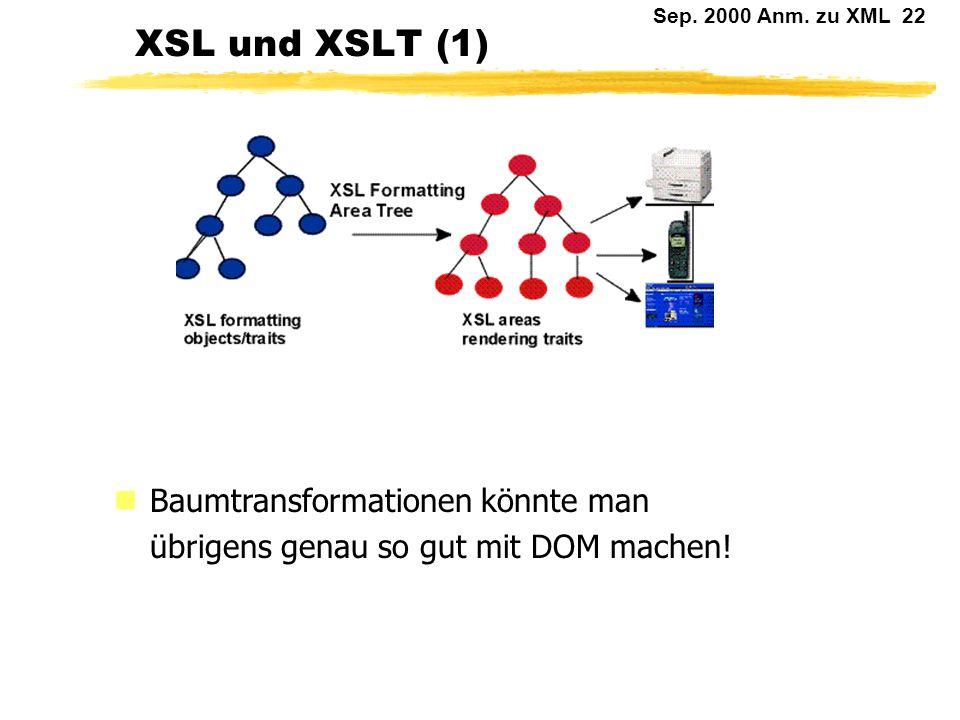Sep. 2000 Anm. zu XML 21 Stilvorlagen für XML nDie Diskussion über Stilvorlagen für XML ist anhaltend und noch keineswegs abgeschlossen. Die Puristen