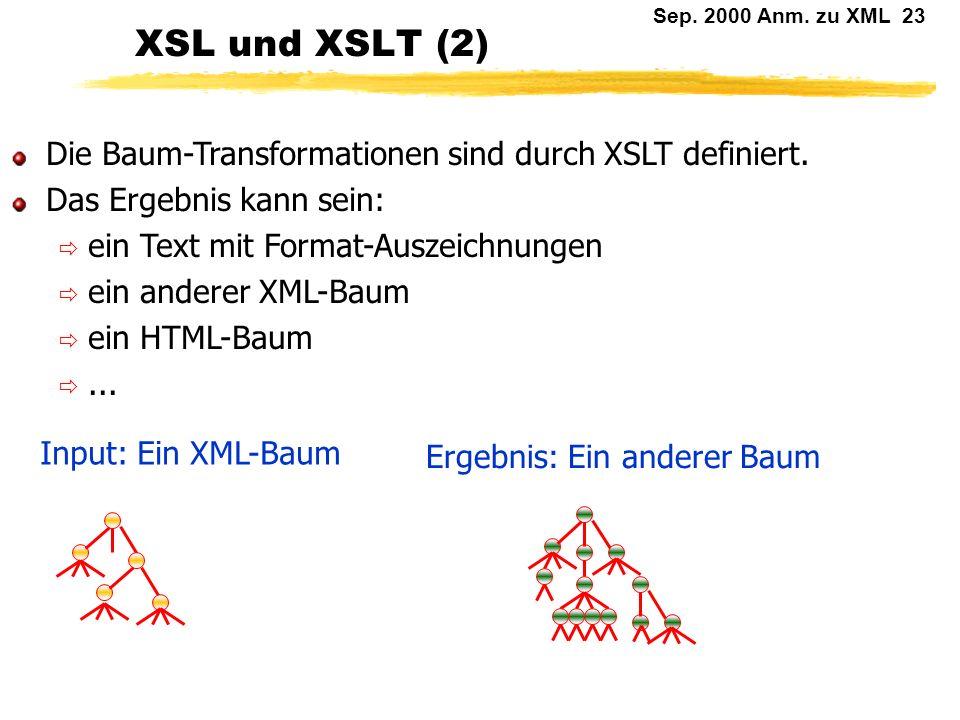 Sep. 2000 Anm. zu XML 22 XSL und XSLT (1) Baumtransformationen könnte man übrigens genau so gut mit DOM machen!