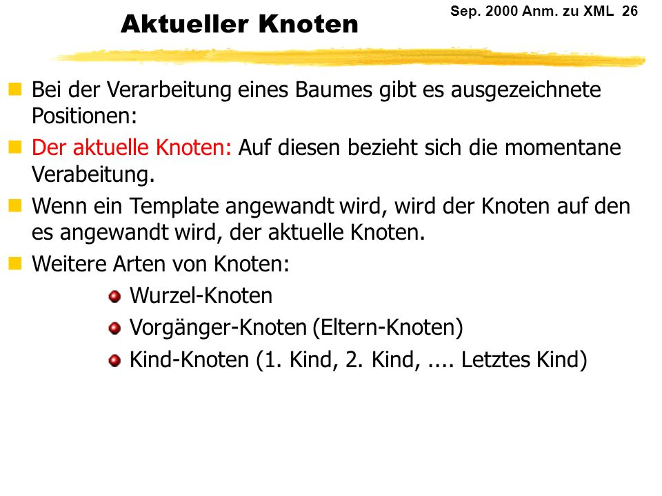 Sep. 2000 Anm. zu XML 25 Knotenarten: Beispiel The First Day It was the best of days, it was the worst of days. Elementknoten: section Wurzel Elementk
