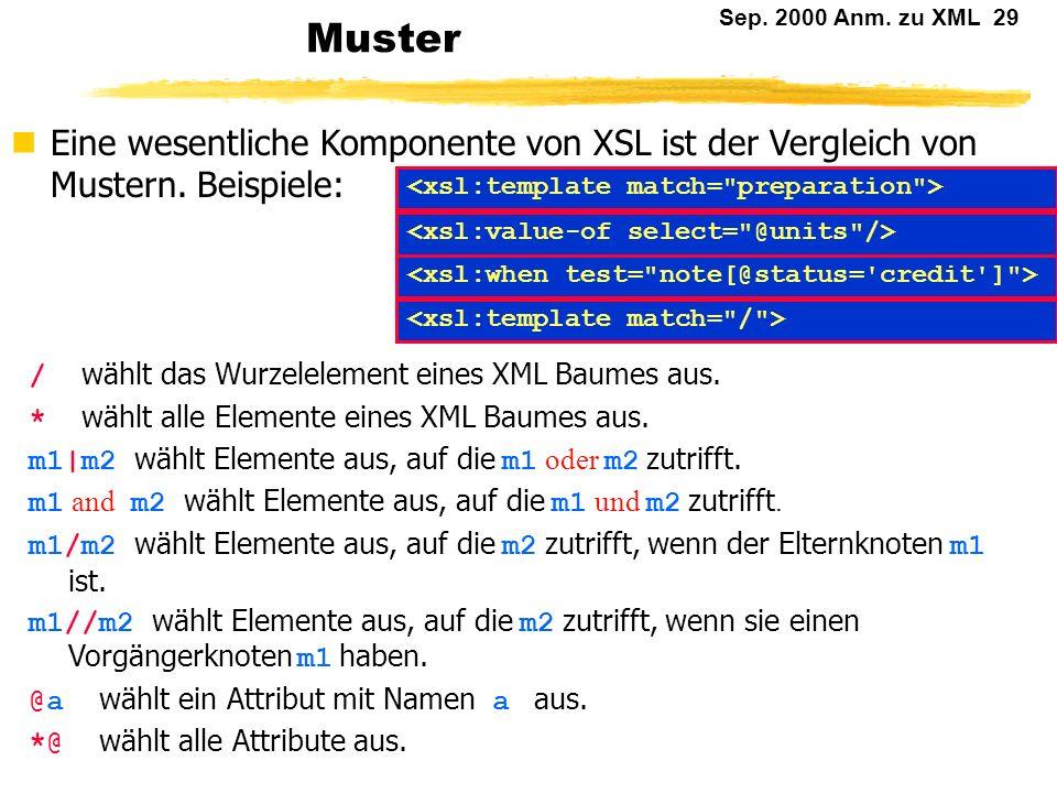 Sep. 2000 Anm. zu XML 28 Abhängige Knoten (2) Zusammengesetzte Selektoren: from-ancestors-or-self(...) from-descendants-or-self(...) Abgekürzte Schrei