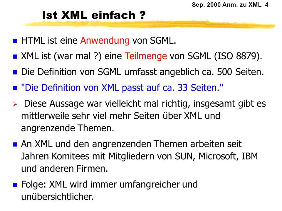 Sep. 2000 Anm. zu XML 3 W3C: XML Aussagen des W3C zu XML: XML in 10 points.htm Die aktuelle XML-Definition des W3C: XML-Dokus\Extensible Markup Langua