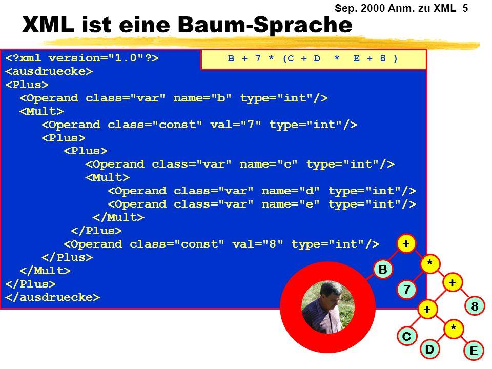 Sep. 2000 Anm. zu XML 4 Ist XML einfach ? HTML ist eine Anwendung von SGML. XML ist (war mal ?) eine Teilmenge von SGML (ISO 8879). Die Definition von