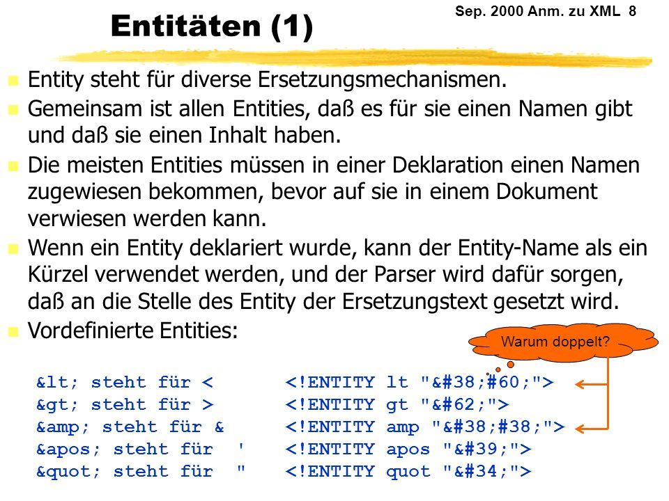 Sep.2000 Anm. zu XML 8 Entitäten (1) n Entity steht für diverse Ersetzungsmechanismen.