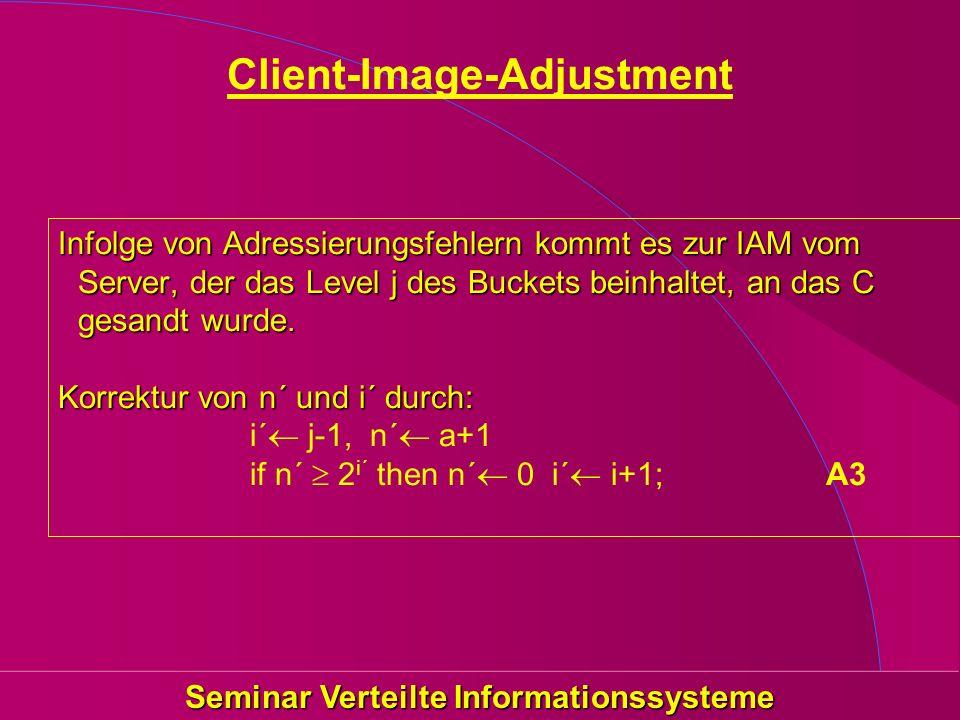 Seminar Verteilte Informationssysteme Client-Image-Adjustment Infolge von Adressierungsfehlern kommt es zur IAM vom Server, der das Level j des Bucket