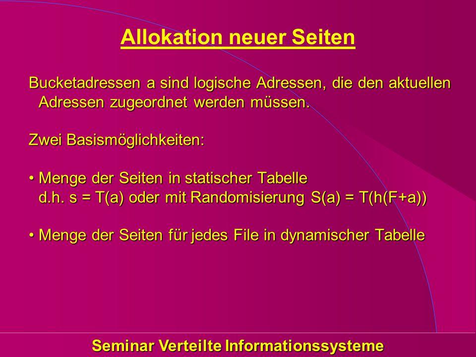 Seminar Verteilte Informationssysteme Allokation neuer Seiten Bucketadressen a sind logische Adressen, die den aktuellen Adressen zugeordnet werden mü