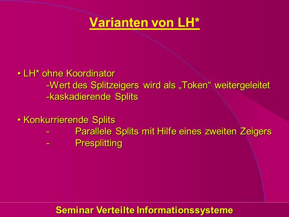 Seminar Verteilte Informationssysteme Varianten von LH* LH* ohne Koordinator -Wert des Splitzeigers wird als Token weitergeleitet -kaskadierende Split