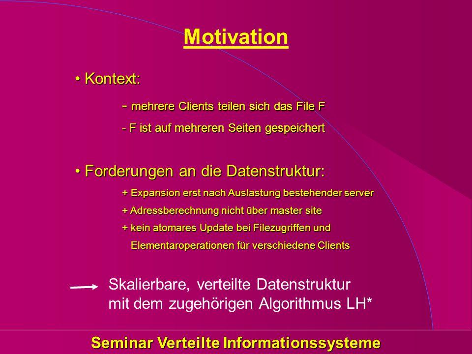 Seminar Verteilte Informationssysteme Motivation Kontext: - mehrere Clients teilen sich das File F - F ist auf mehreren Seiten gespeichertKontext: - m
