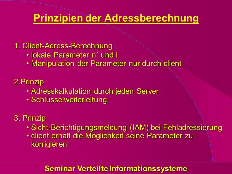 Seminar Verteilte Informationssysteme Prinzipien der Adressberechnung 1. Client-Adress-Berechnung lokale Parameter n´ und i´lokale Parameter n´ und i´