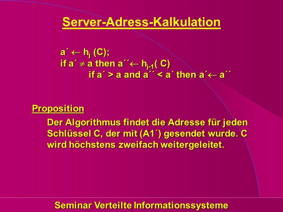 Seminar Verteilte Informationssysteme Server-Adress-Kalkulation a´ h j (C); if a´ a then a´´ h j-1 ( C) if a´ > a and a´´ a and a´´ < a´ then a´ a´´Proposition Der Algorithmus findet die Adresse für jeden Schlüssel C, der mit (A1´) gesendet wurde.