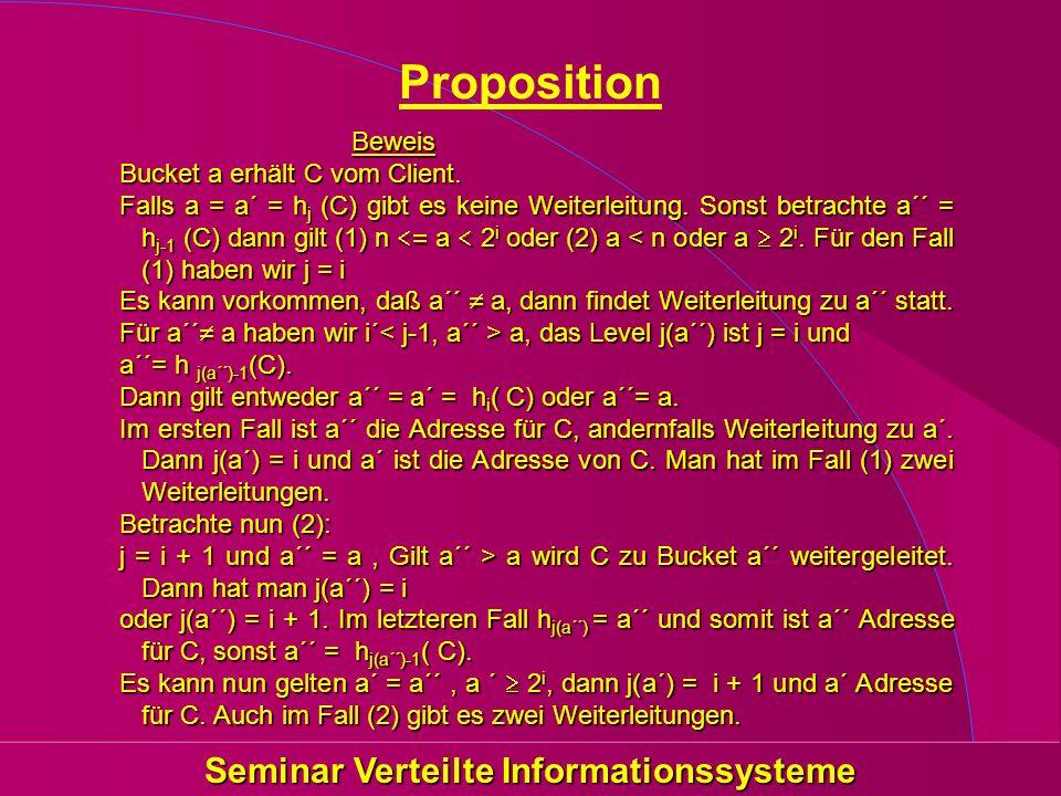 Seminar Verteilte Informationssysteme Proposition Beweis Bucket a erhält C vom Client. Falls a = a´ = h j (C) gibt es keine Weiterleitung. Sonst betra