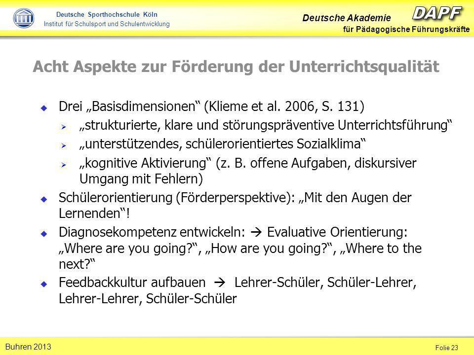 Deutsche Akademie für Pädagogische Führungskräfte Folie 23 Buhren 2013 Deutsche Sporthochschule Köln Institut für Schulsport und Schulentwicklung Acht