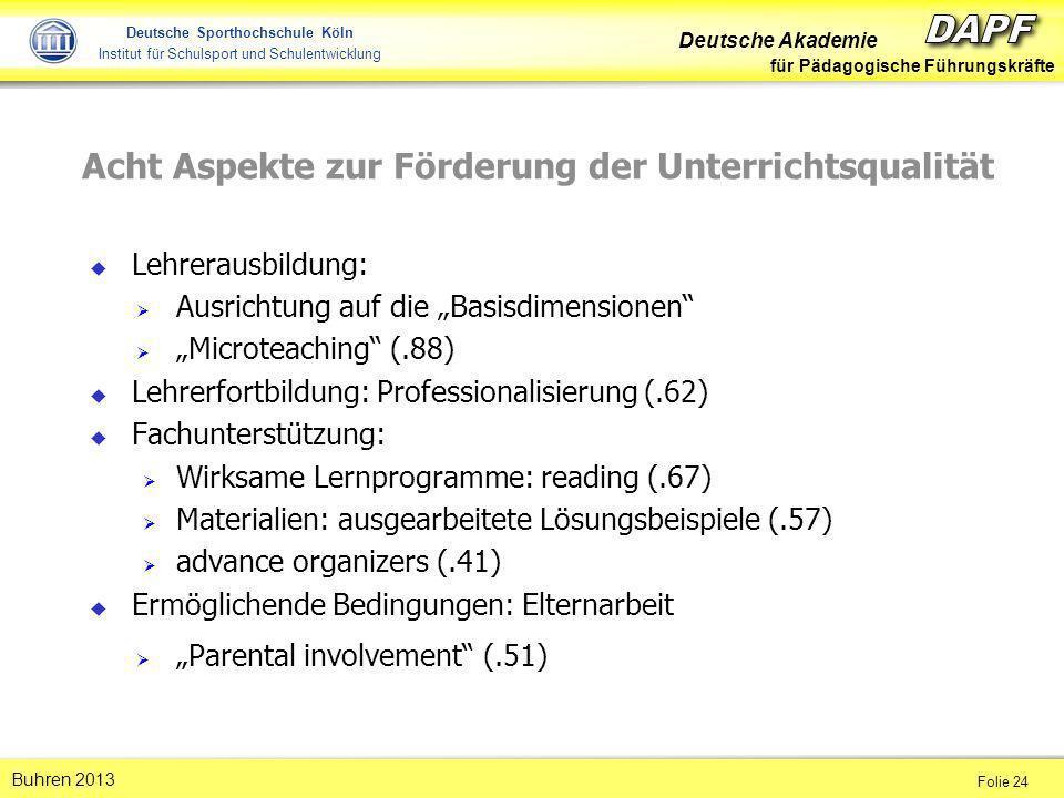 Deutsche Akademie für Pädagogische Führungskräfte Folie 24 Buhren 2013 Deutsche Sporthochschule Köln Institut für Schulsport und Schulentwicklung Acht