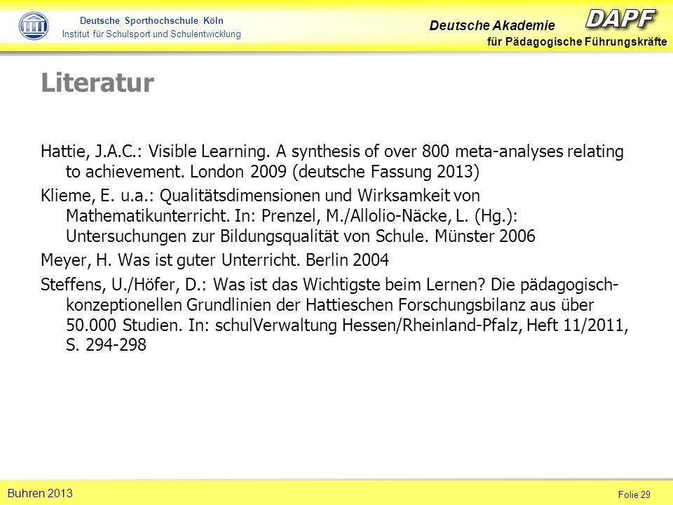 Deutsche Akademie für Pädagogische Führungskräfte Folie 29 Buhren 2013 Deutsche Sporthochschule Köln Institut für Schulsport und Schulentwicklung Lite