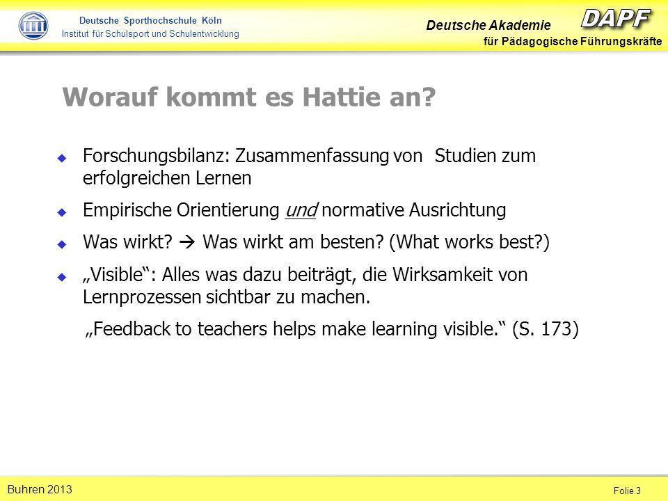 Deutsche Akademie für Pädagogische Führungskräfte Folie 3 Buhren 2013 Deutsche Sporthochschule Köln Institut für Schulsport und Schulentwicklung Forsc