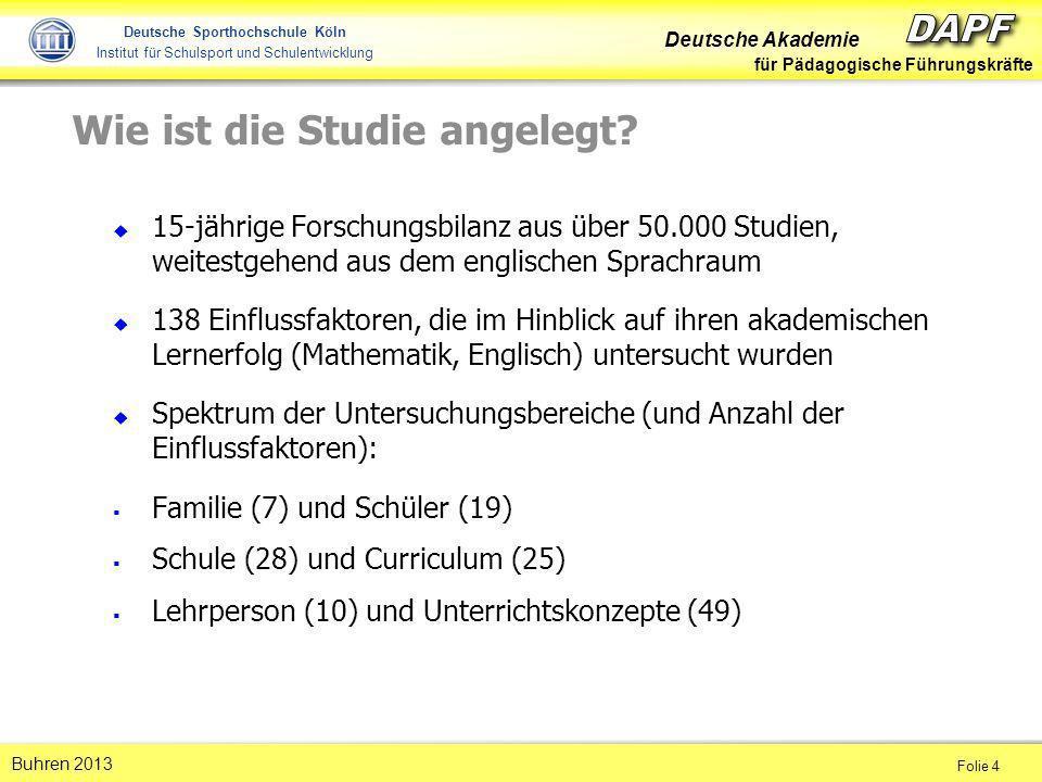 Deutsche Akademie für Pädagogische Führungskräfte Folie 5 Buhren 2013 Deutsche Sporthochschule Köln Institut für Schulsport und Schulentwicklung Was ist eine Metaanalyse.
