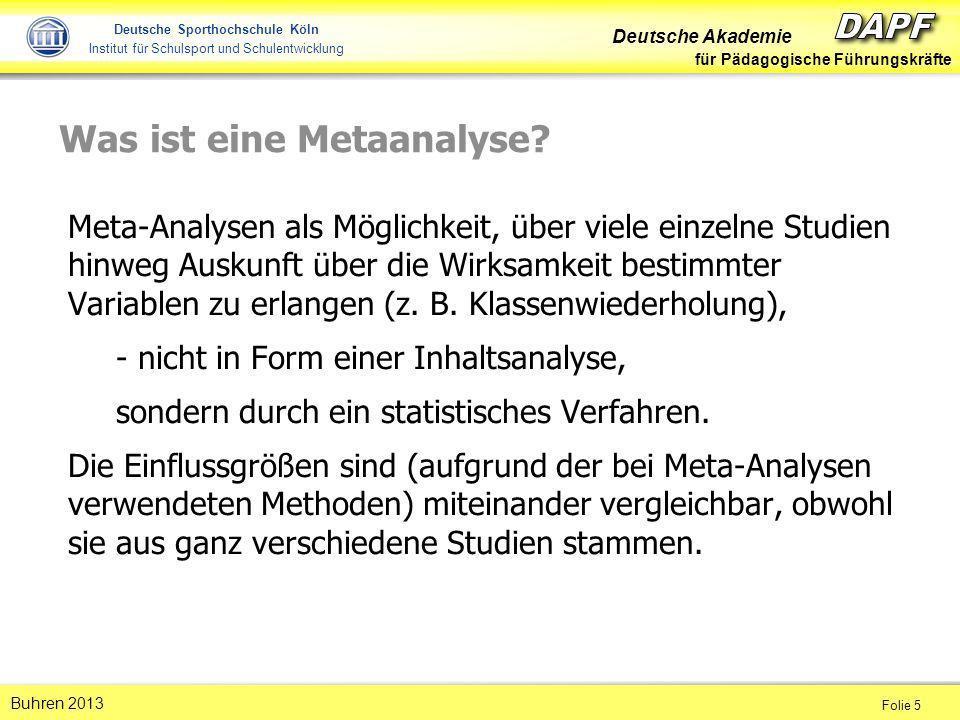 Deutsche Akademie für Pädagogische Führungskräfte Folie 16 Buhren 2013 Deutsche Sporthochschule Köln Institut für Schulsport und Schulentwicklung Was ist Hatties Überzeugung.