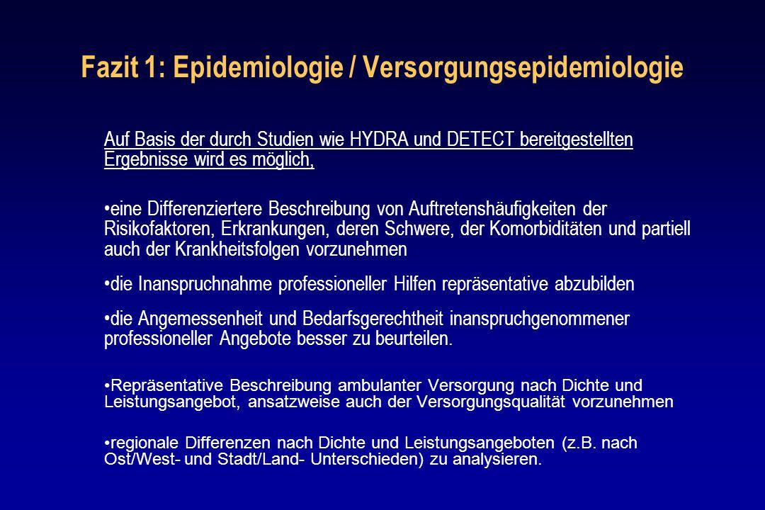 Fazit 1: Epidemiologie / Versorgungsepidemiologie Auf Basis der durch Studien wie HYDRA und DETECT bereitgestellten Ergebnisse wird es möglich, eine D