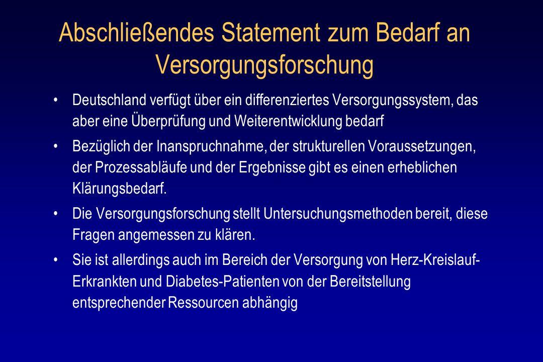 Abschließendes Statement zum Bedarf an Versorgungsforschung Deutschland verfügt über ein differenziertes Versorgungssystem, das aber eine Überprüfung