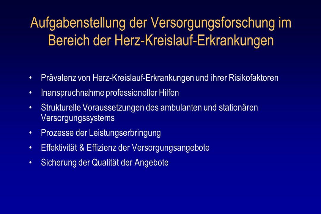 Prävalenz von Herz-Kreislauf-Erkrankungen und ihrer Risikofaktoren: aktuelle Forschungssituation Bis Ende der 90er Jahre keine belastungsfähigen epidemiologischen Untersuchungen in Deutschland Wesentliche Verbesserung der Datengrundlagen durch repräsentative Querschnittsuntersuchungen: Bundesgesundheitssurvey (1998 ), telefonischer Gesundheitssurvey 2003 (jeweils RKI) 2 neuere versorgungsepidemiologische Studien der Dresdner Arbeitsgruppe H.-U.Wittchen in Kooperation mit anderen Forschungsgruppen HYDRA (2001-2003 ), DETECT (2003 – 2007) Weiterhin Fehlen langfristig angelegter Kohortenstudien