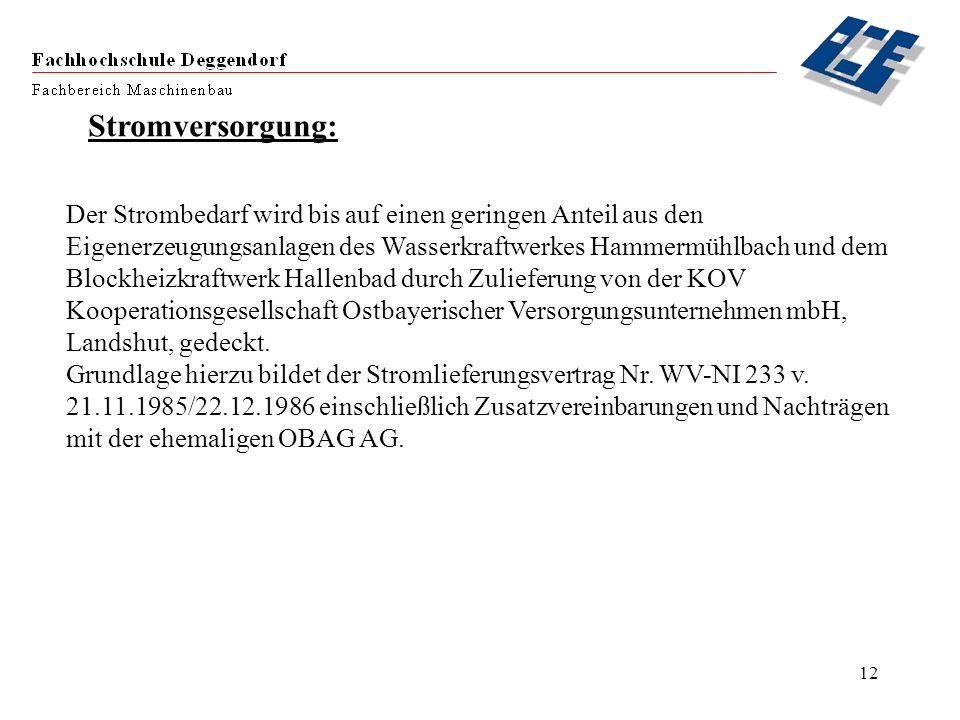 12 Stromversorgung: Der Strombedarf wird bis auf einen geringen Anteil aus den Eigenerzeugungsanlagen des Wasserkraftwerkes Hammermühlbach und dem Blo