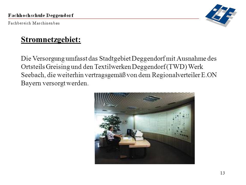 13 Stromnetzgebiet: Die Versorgung umfasst das Stadtgebiet Deggendorf mit Ausnahme des Ortsteils Greising und den Textilwerken Deggendorf (TWD) Werk S