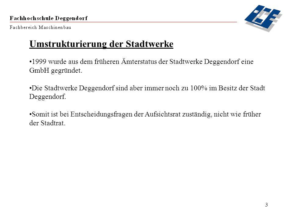 3 Umstrukturierung der Stadtwerke 1999 wurde aus dem früheren Ämterstatus der Stadtwerke Deggendorf eine GmbH gegründet. Die Stadtwerke Deggendorf sin