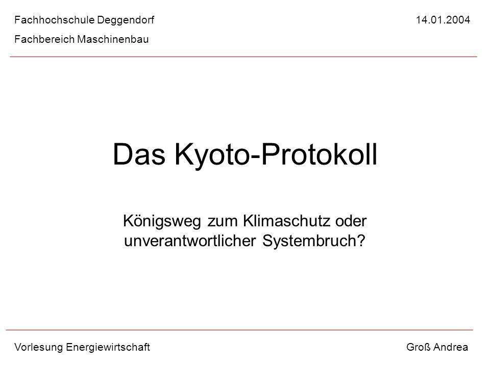 Das Kyoto-Protokoll Königsweg zum Klimaschutz oder unverantwortlicher Systembruch? Fachhochschule Deggendorf 14.01.2004 Fachbereich Maschinenbau Vorle