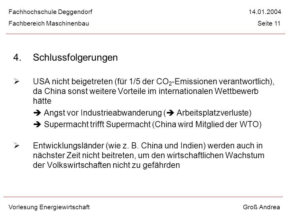 4. Schlussfolgerungen USA nicht beigetreten (für 1/5 der CO 2 -Emissionen verantwortlich), da China sonst weitere Vorteile im internationalen Wettbewe