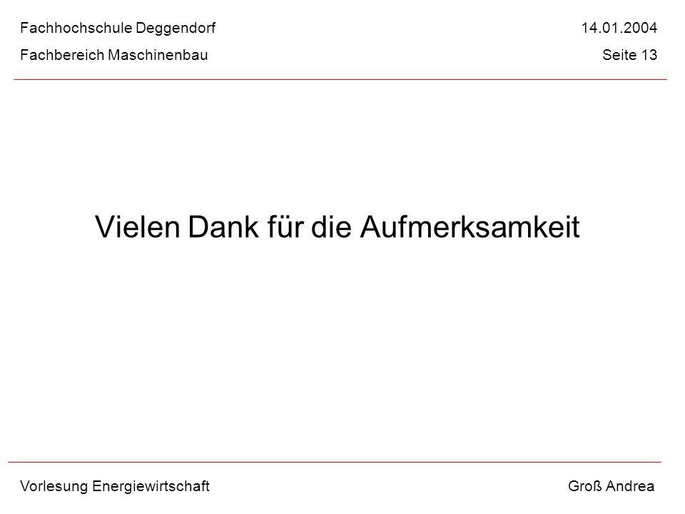 Vielen Dank für die Aufmerksamkeit Fachhochschule Deggendorf 14.01.2004 Fachbereich Maschinenbau Seite 13 Vorlesung Energiewirtschaft Groß Andrea