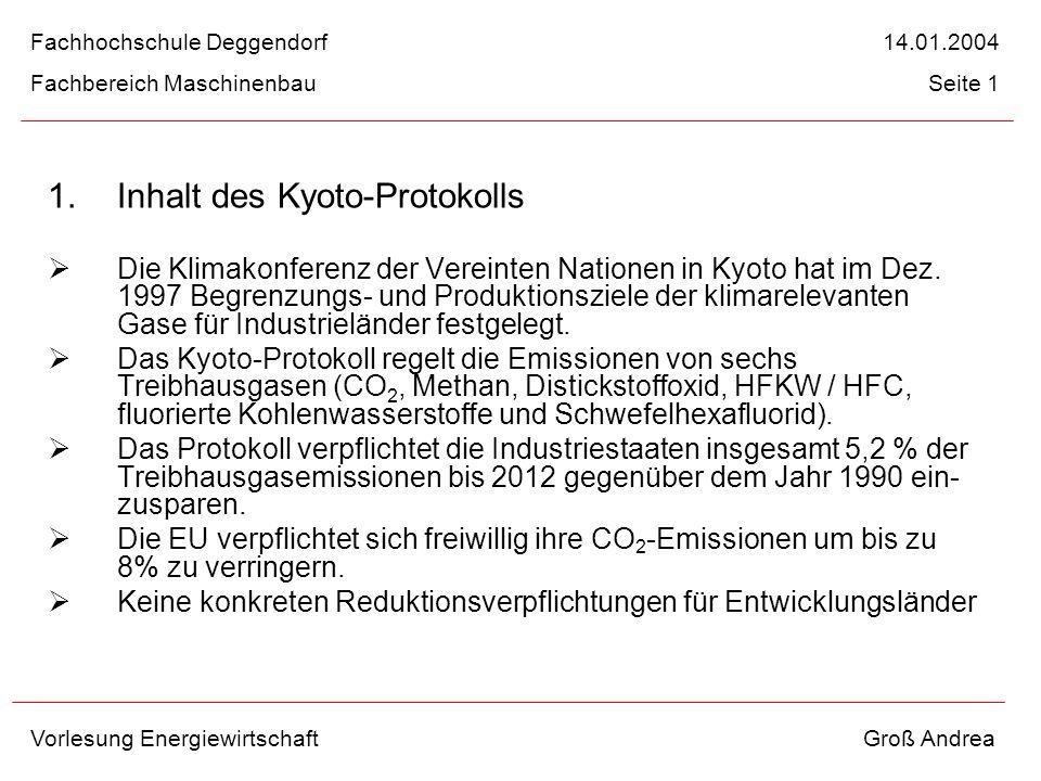 1.Inhalt des Kyoto-Protokolls Die Klimakonferenz der Vereinten Nationen in Kyoto hat im Dez. 1997 Begrenzungs- und Produktionsziele der klimarelevante